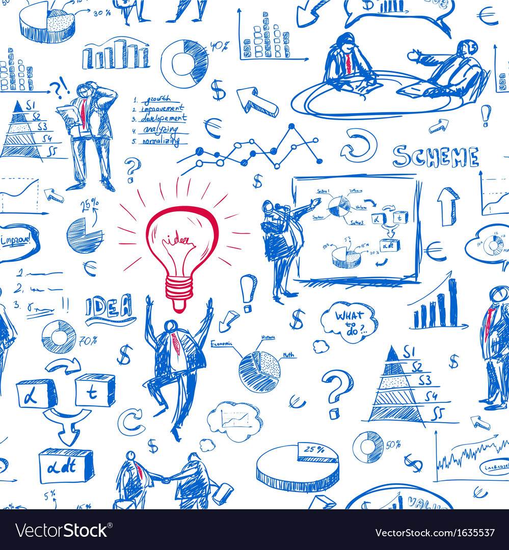 Doodle infographics seamless background vector image