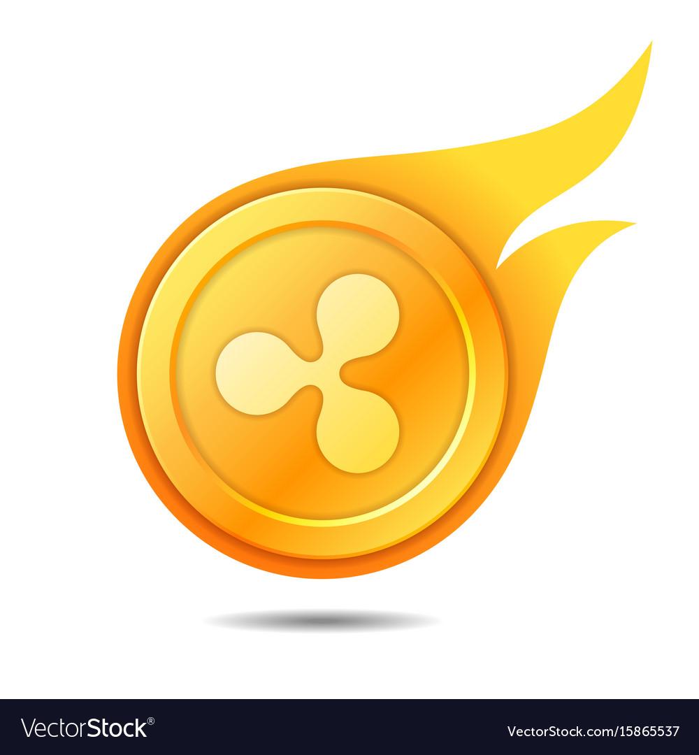 Flaming ripple coin symbol icon sign emblem vector image
