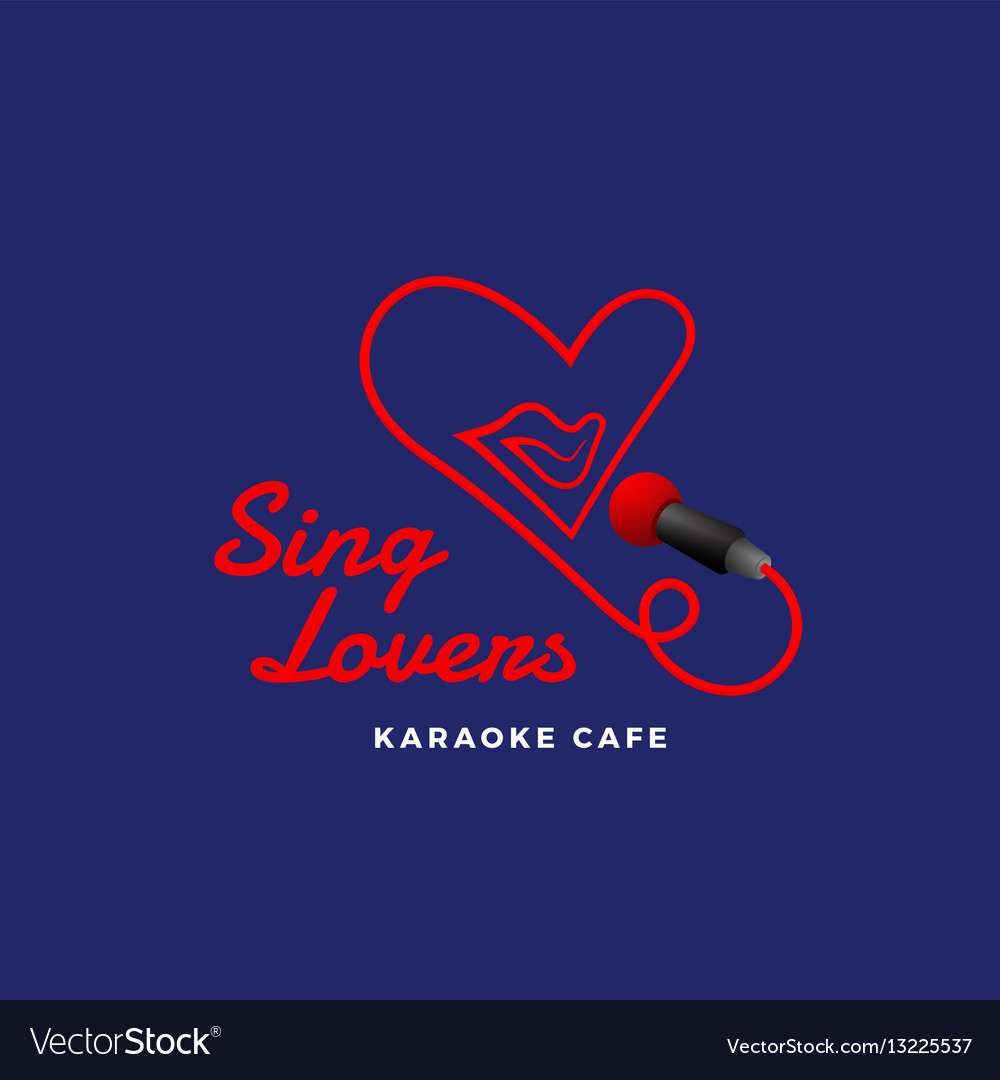 Sing lovers karaoke abstract sign emblem vector image