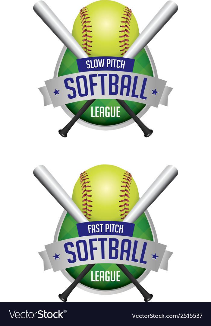 Softball league emblems vector image