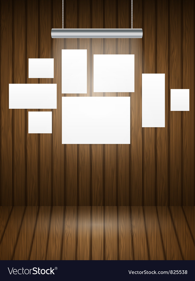 Wooden planks interior with light vector image