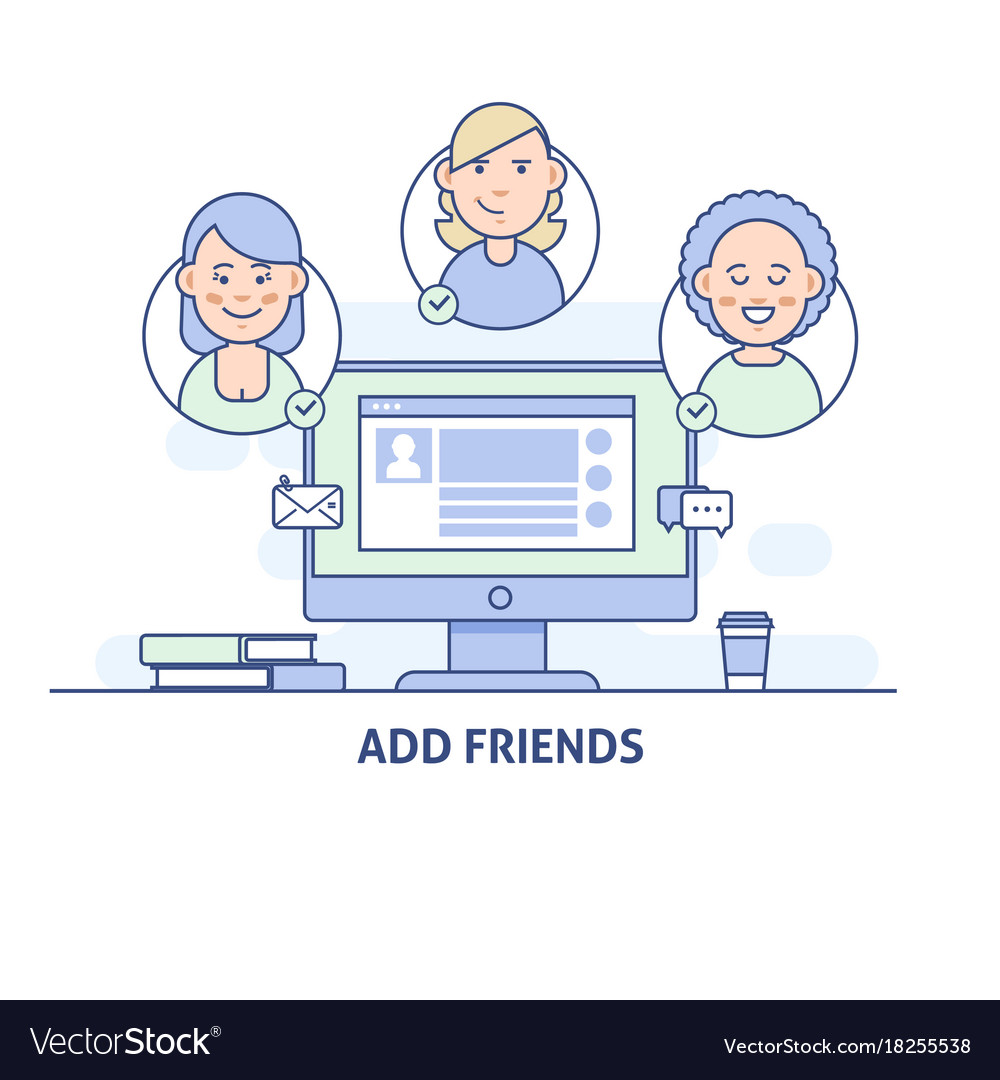 Add friends social network social media icon in vector image