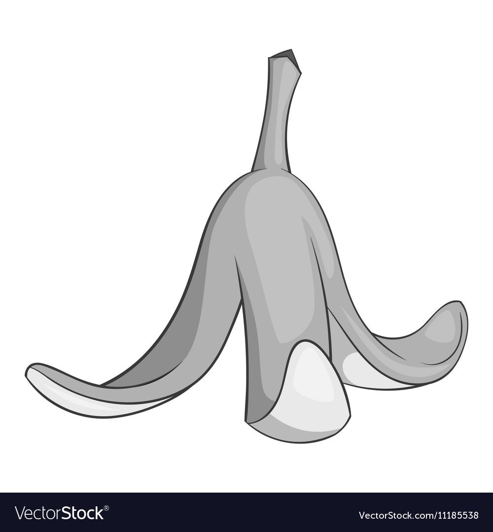Banana peel icon gray monochrome style vector image
