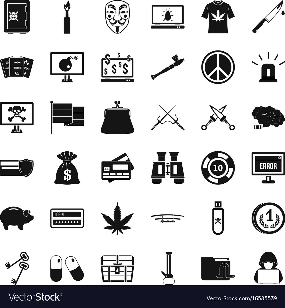 Criminal virus icons set simple style vector image