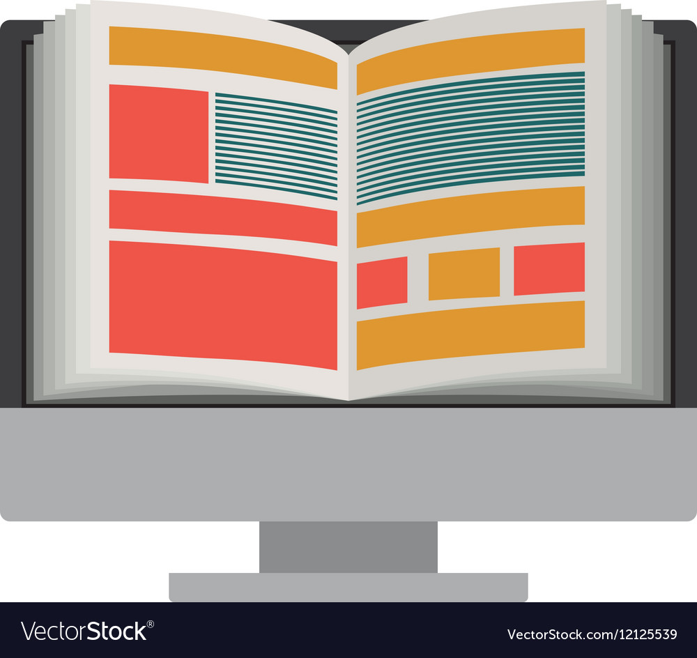 Isolated ebook and computer design vector image