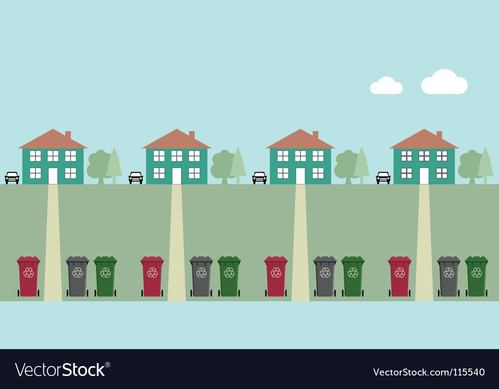 Street recycling collection vector image