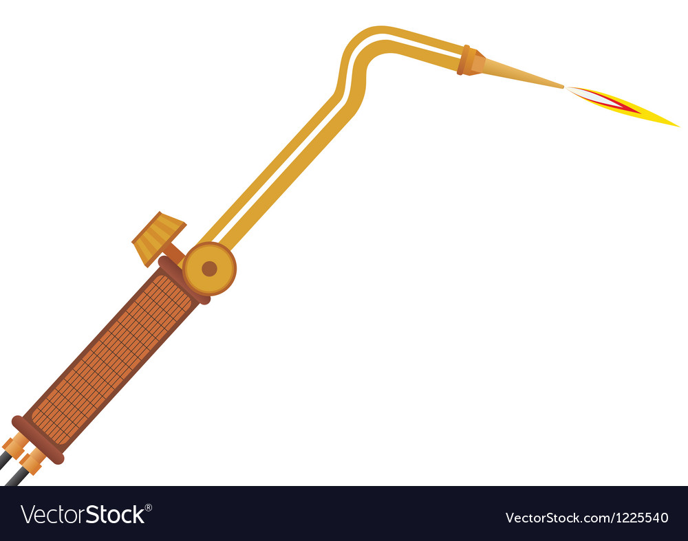 Gas welding torch vector image