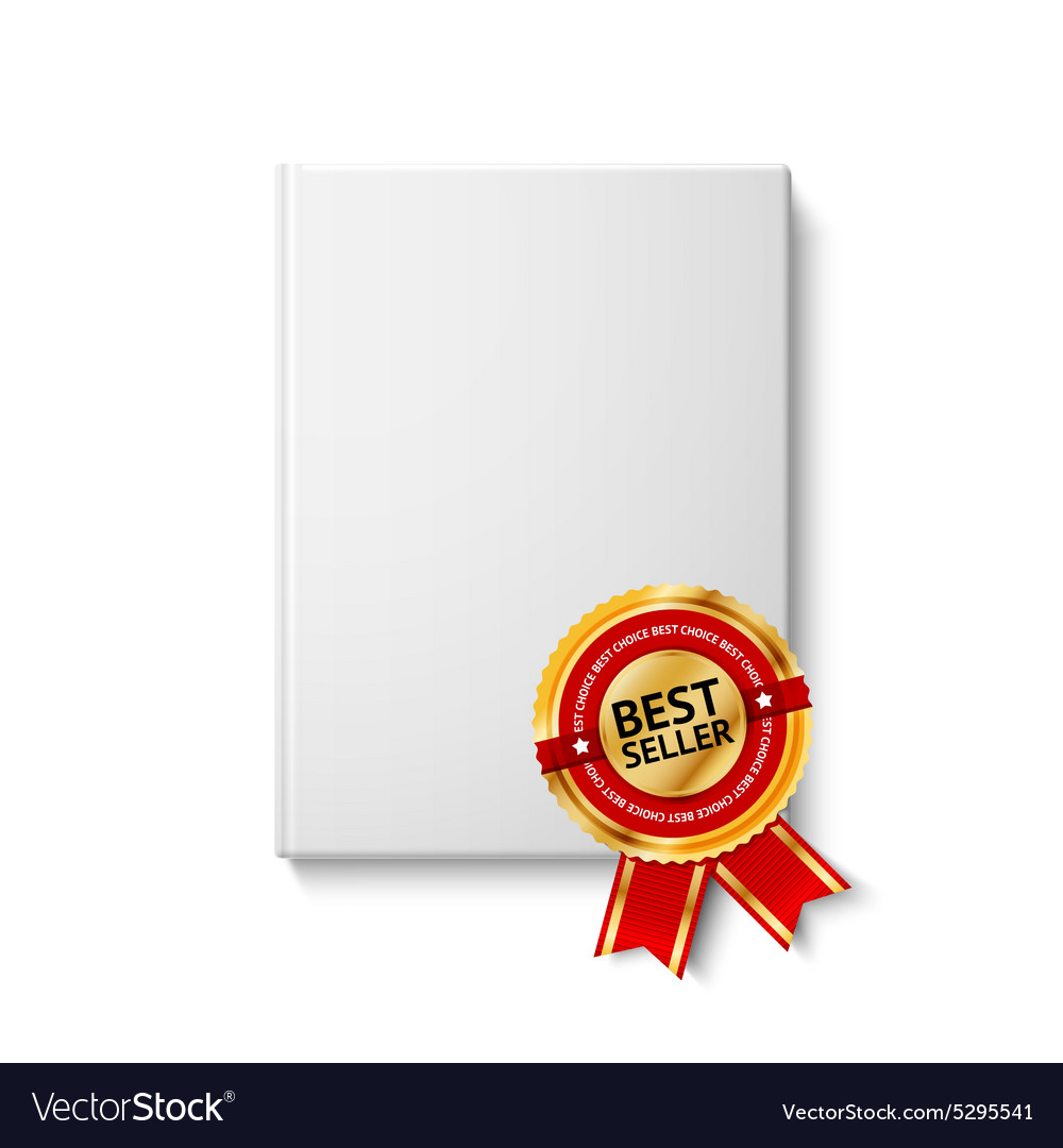 Realistic blank hardcover book front view with vector image