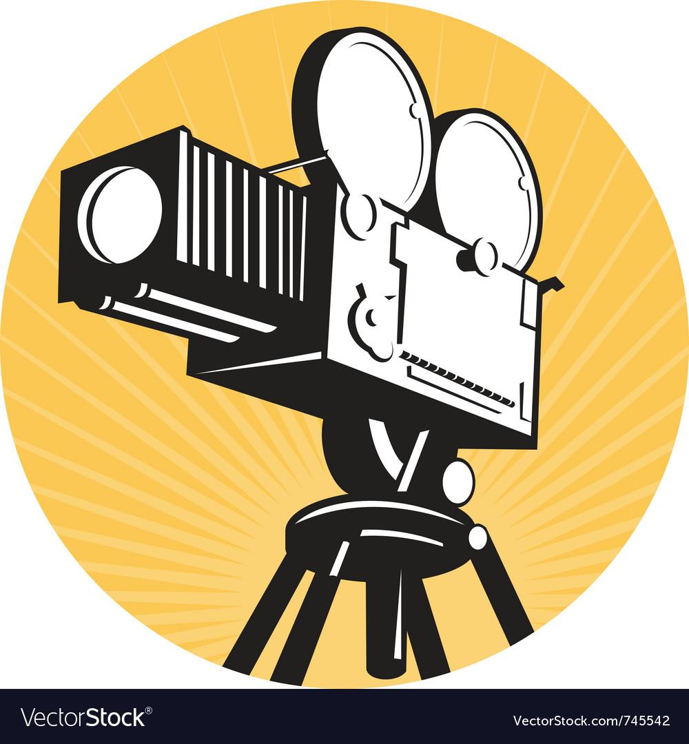 Vintage movie film camera vector image