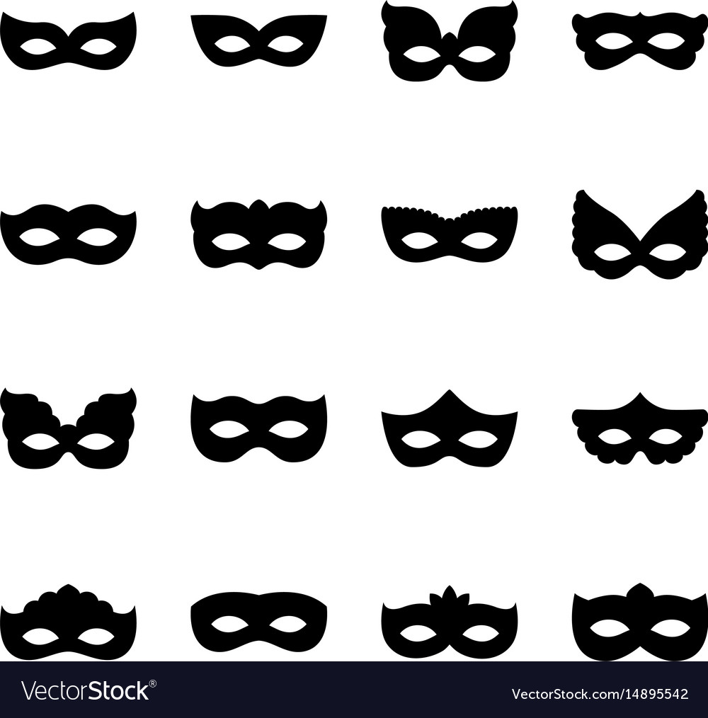 Set of carnival mask silhouettes vector image