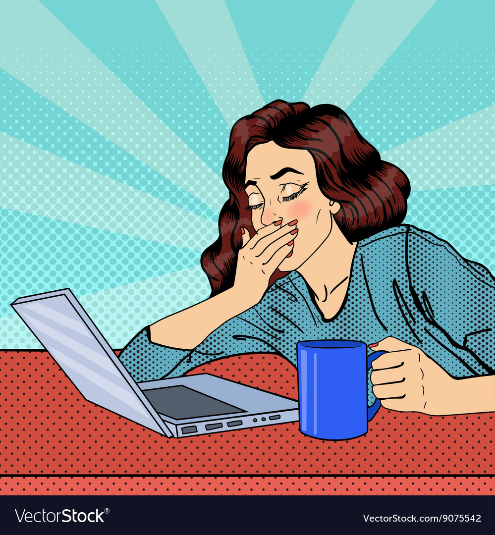 Tired Businesswoman Exhausted Woman with Laptop vector image