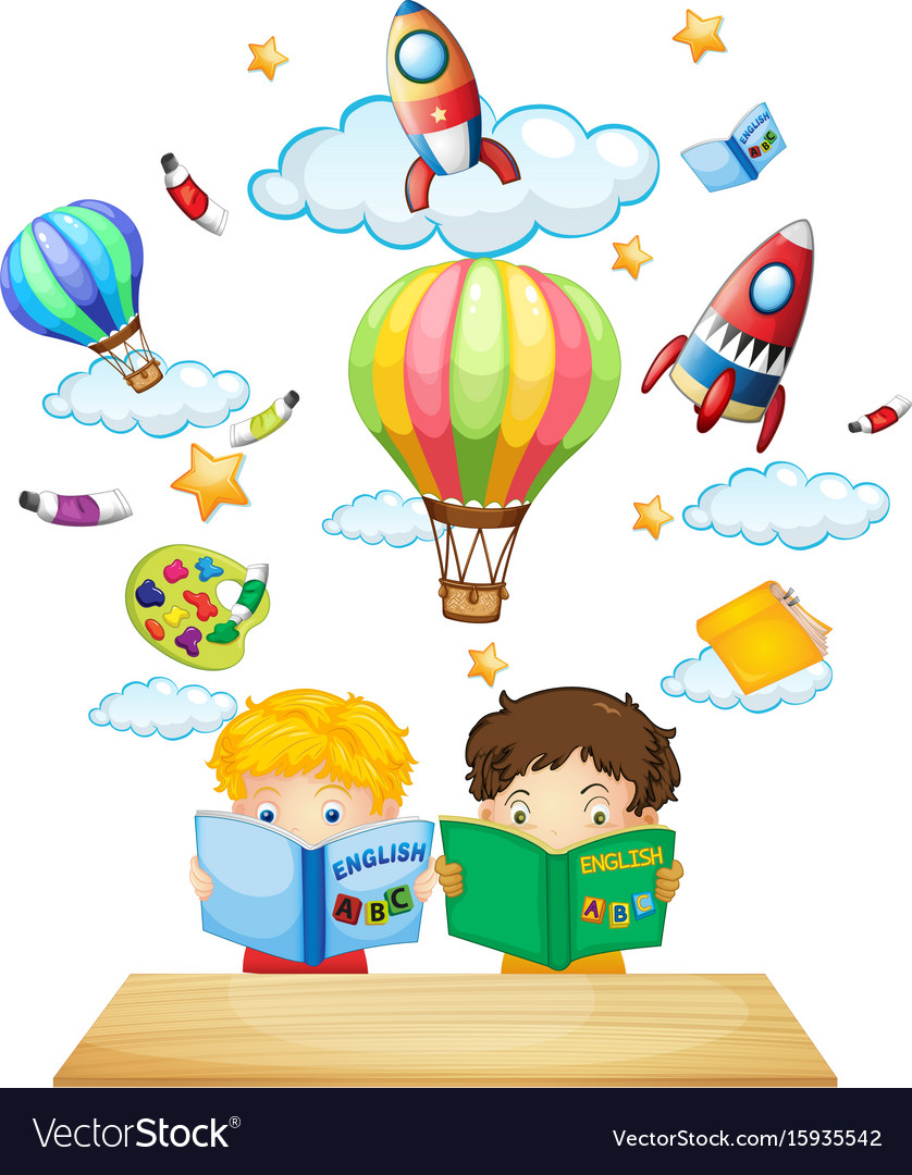 Two kids reading english books vector image
