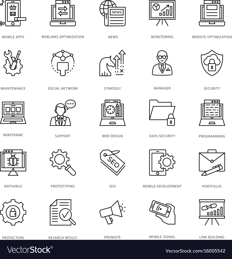 Web design and development icons 8 vector image