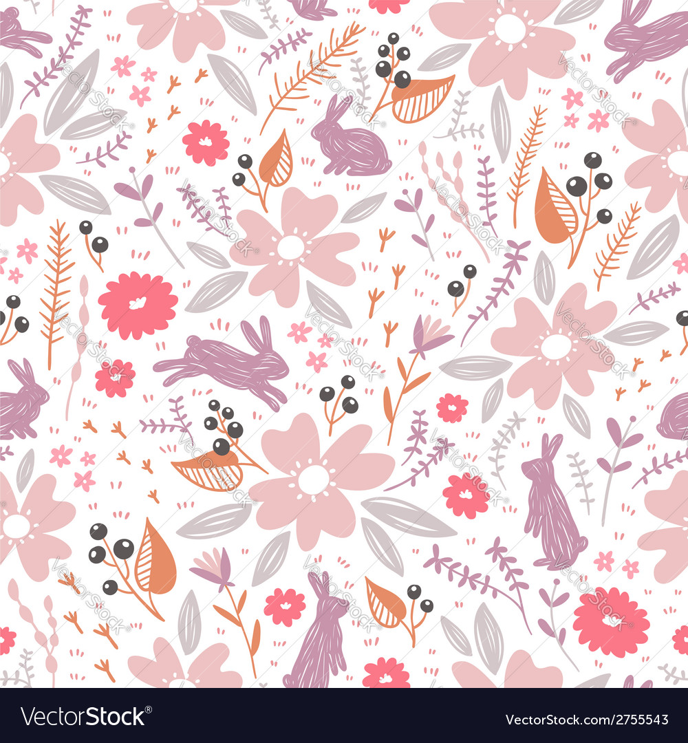 Flowers and bunnies seamless pattern vector image