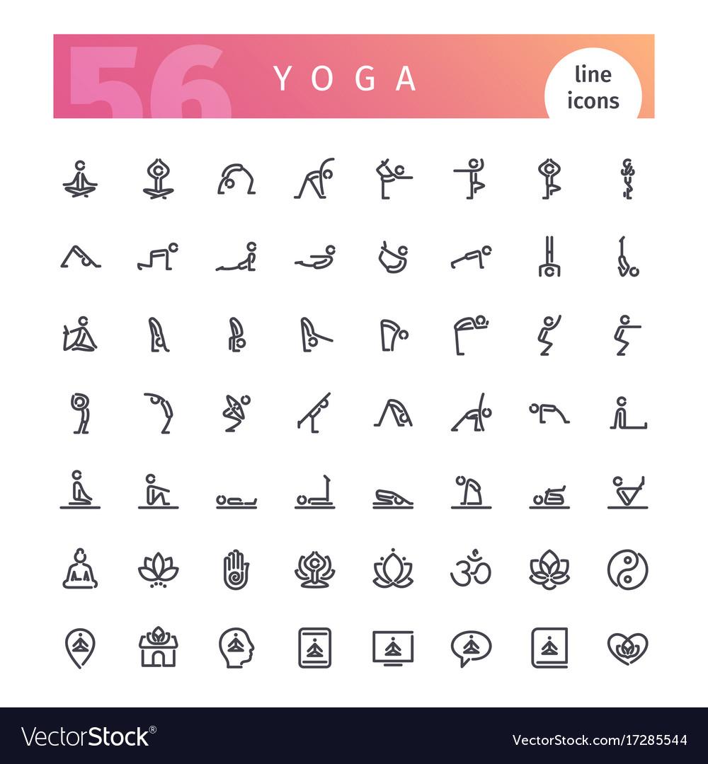 Yoga line icons set vector image