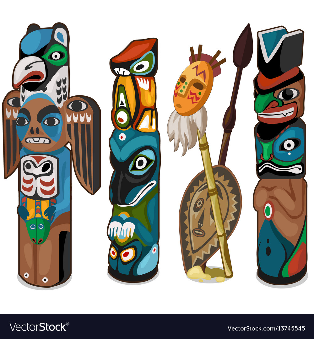 Colorful totems with faces of people and birds vector image