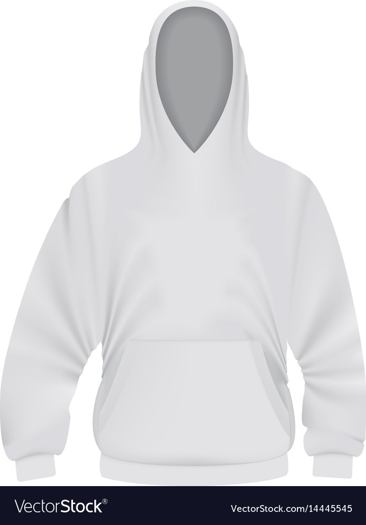 White hoodie mockup realistic style vector image