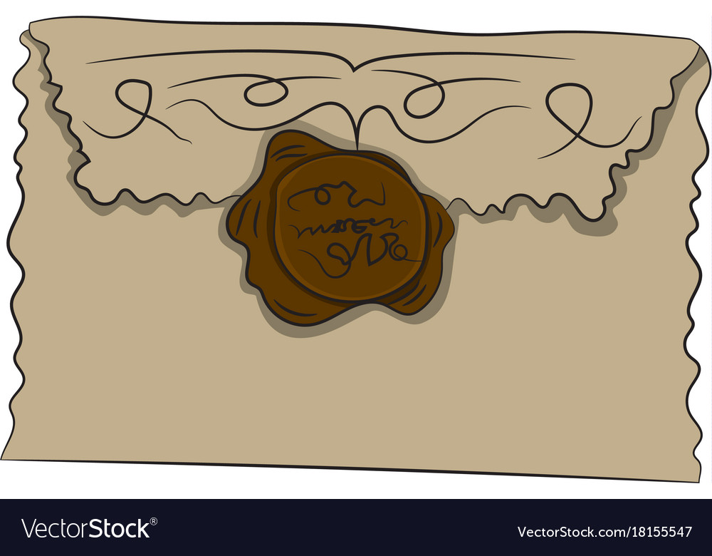 Envelope with seal drawing vector image