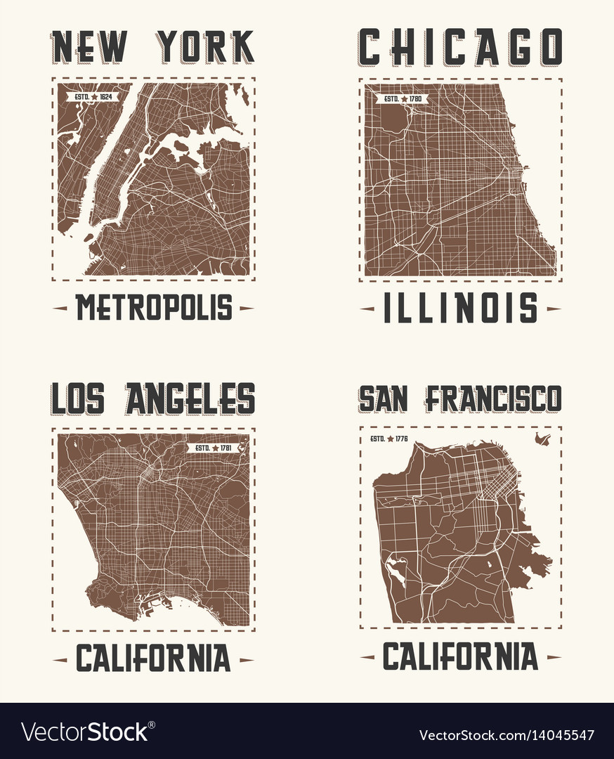 Set of us cities vintage t-shirt designs vector image