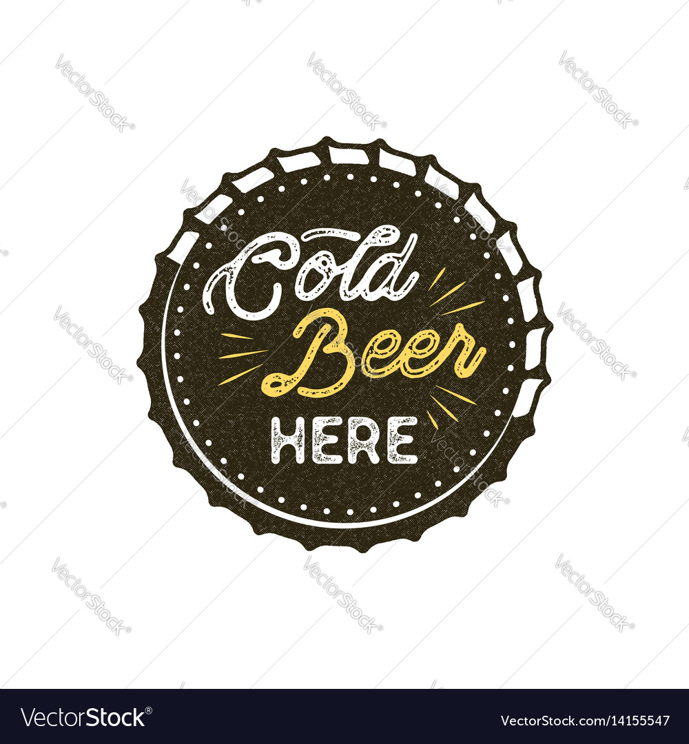 Vintage style beer badge ink stamp monochrome vector image