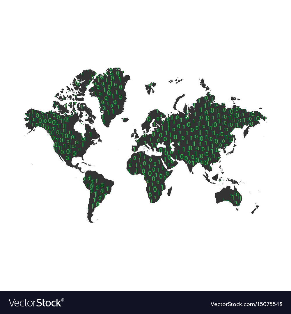 Binary code data on world map royalty free vector image binary code data on world map vector image gumiabroncs Gallery