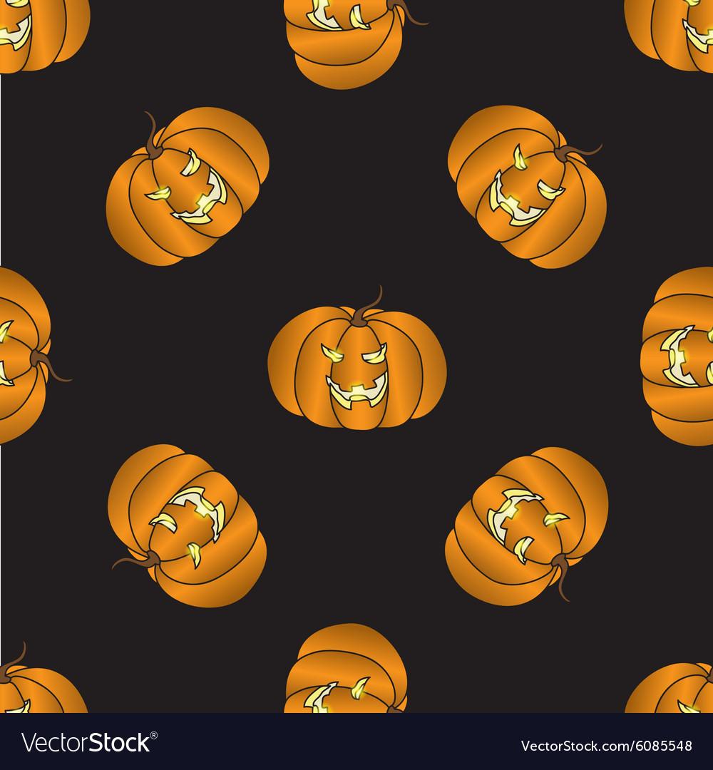 Seamless pattern with Halloween pumpkin vector image