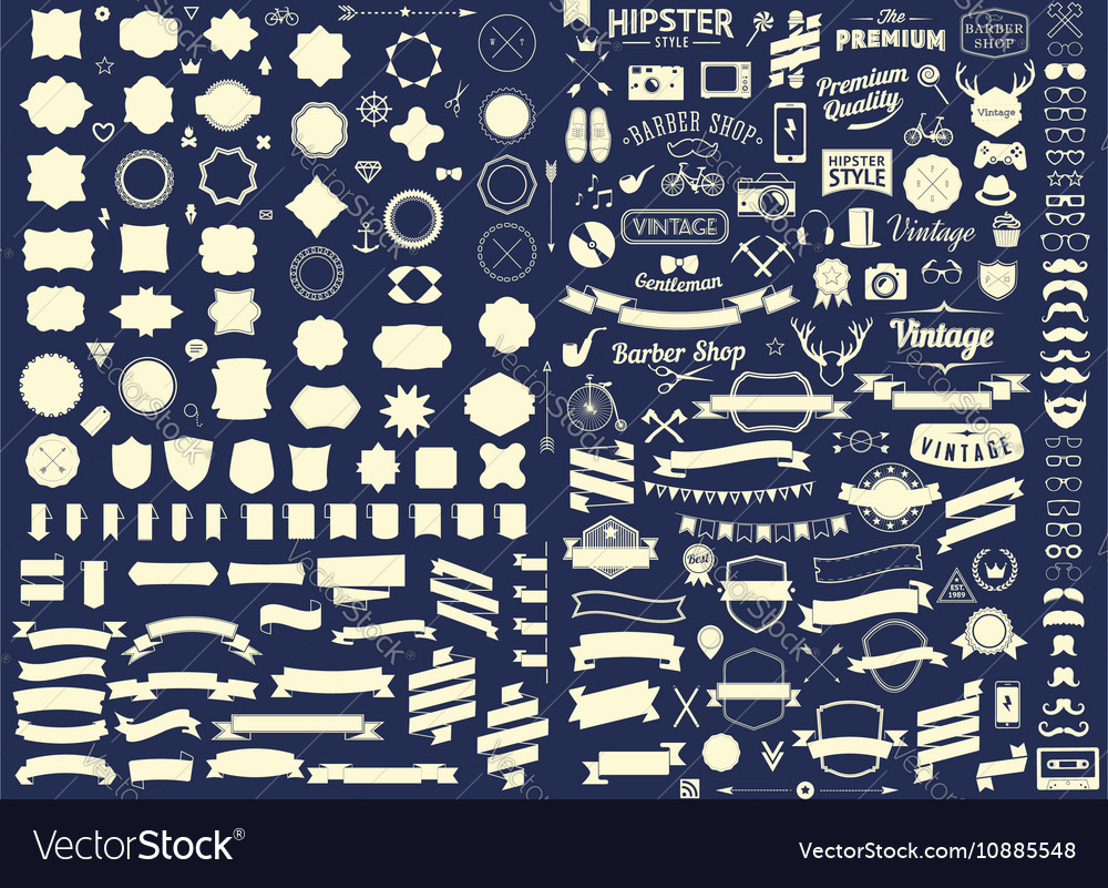 Set of vintage styled design hipster icons vector image