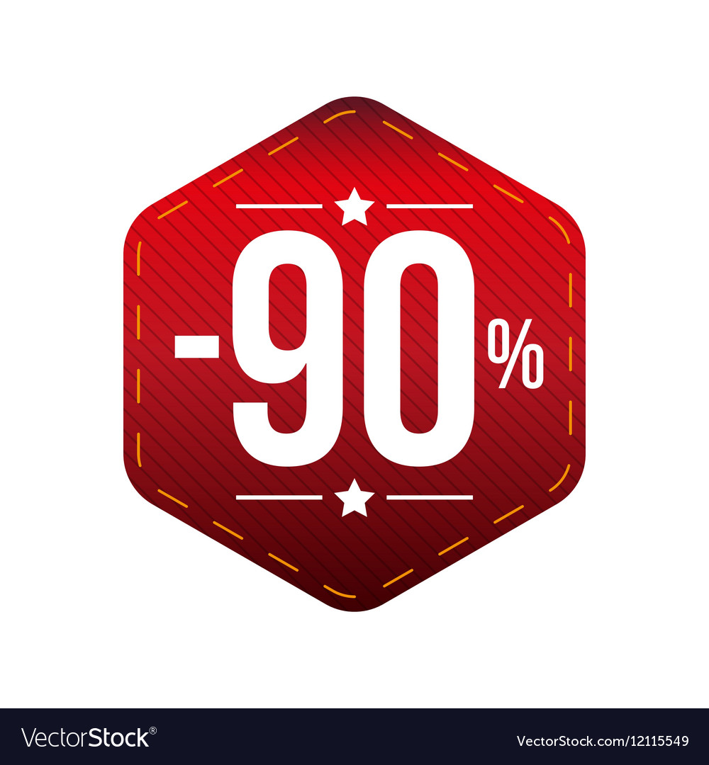Sale ninety percent off banner red patch vector image