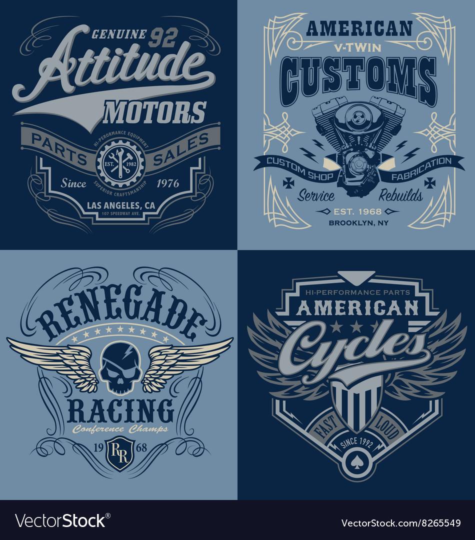 Vintage motorsport emblem graphic set vector image
