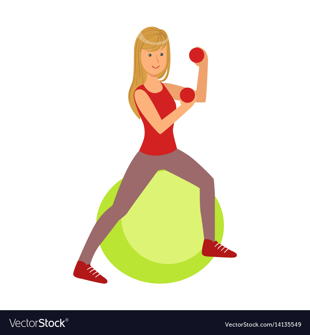 Young blond woman exercising on green fitball vector image