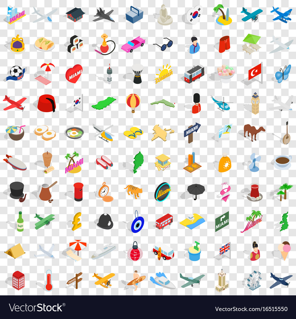 100 touring icons set isometric 3d style vector image