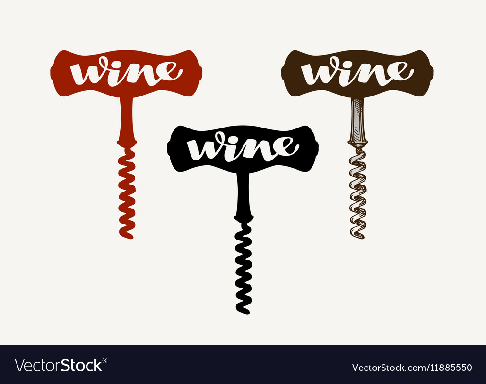 Wine logo Corkscrew icon or symbol vector image