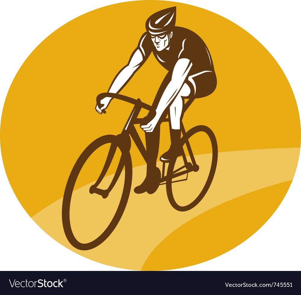 Cyclist riding racing bike retro vector image