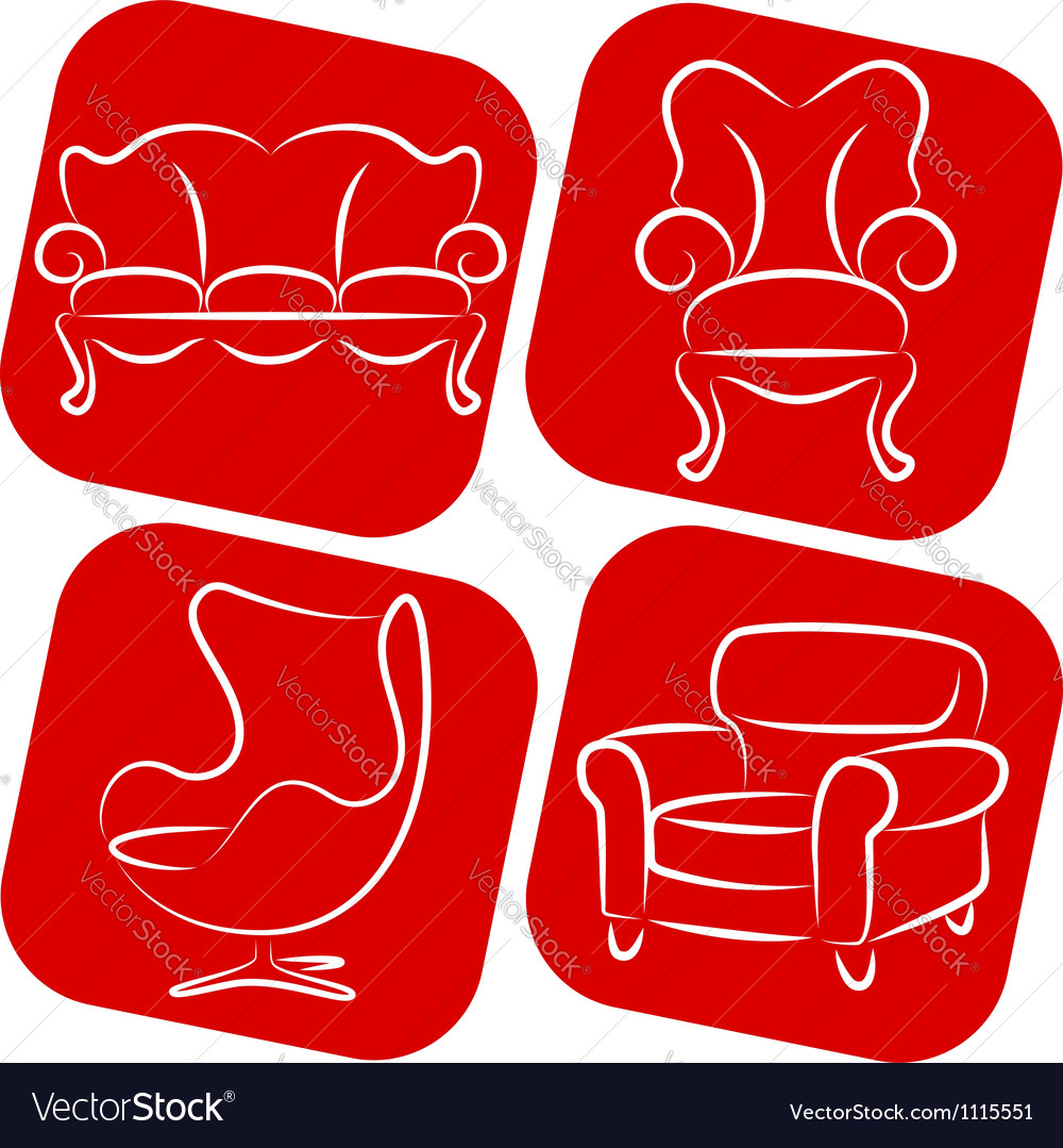 Furniture elements vector image