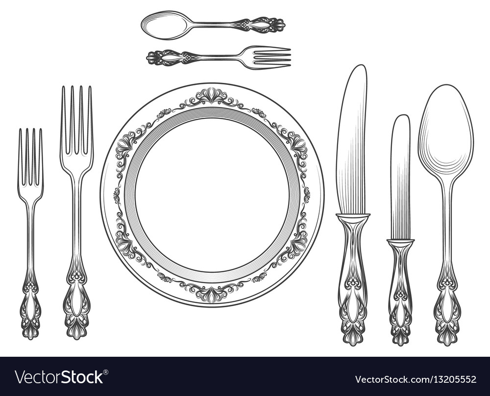 Engraving cutlery and dinner plates vector image