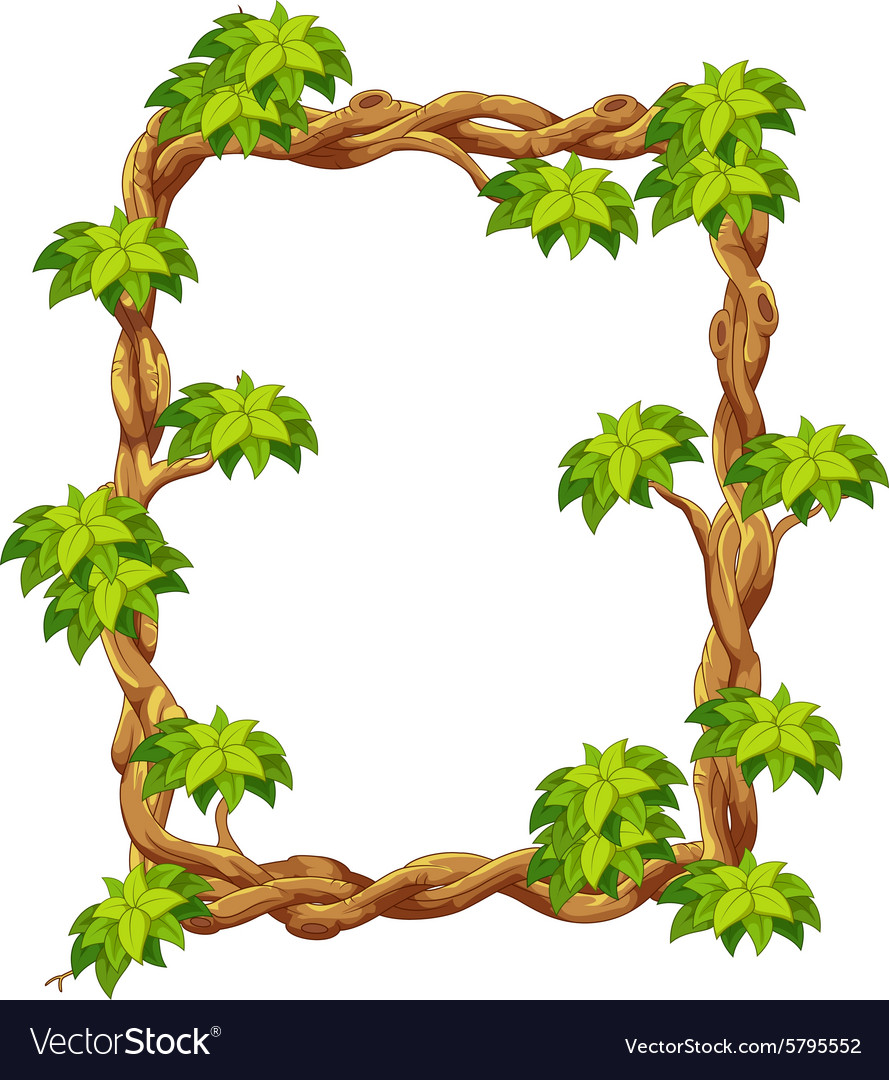 wooden frame with green leaf cartoon royalty free vector