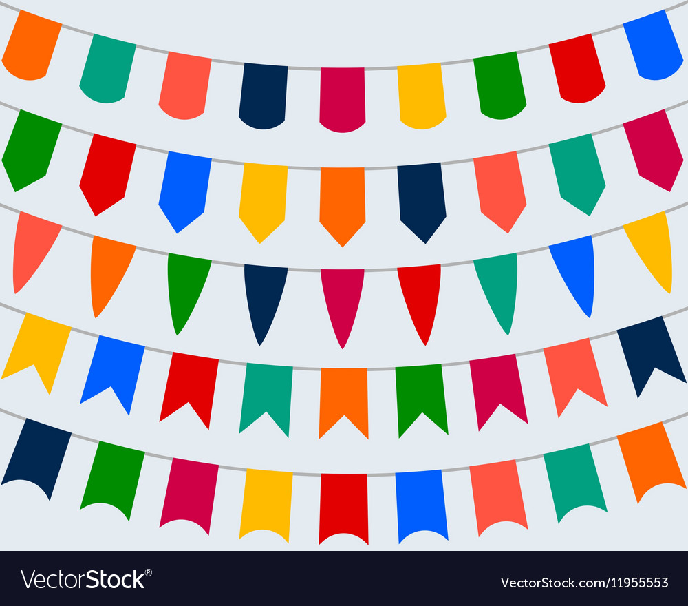 Collection of festive decorative flags for the vector image