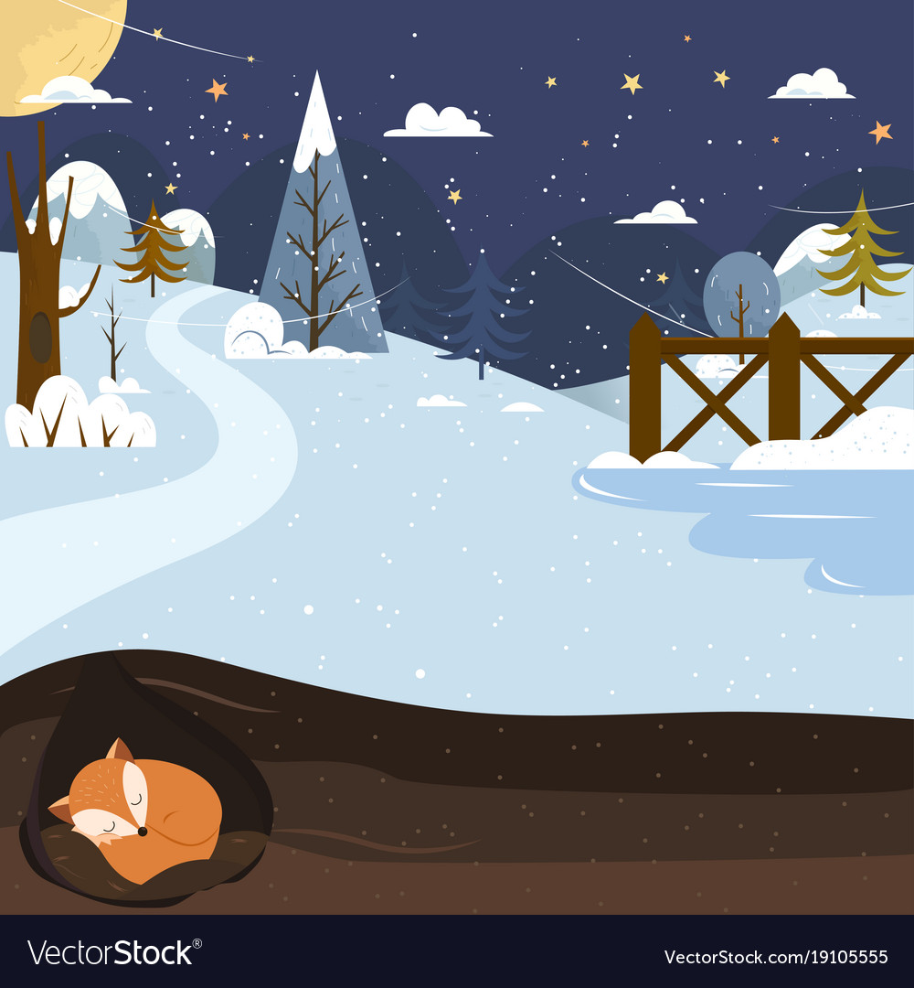 Let it snow fox sleeping in a hole holiday vector image