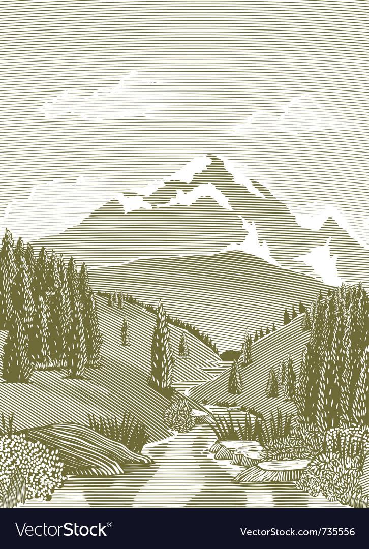 Woodcut river scene vector image
