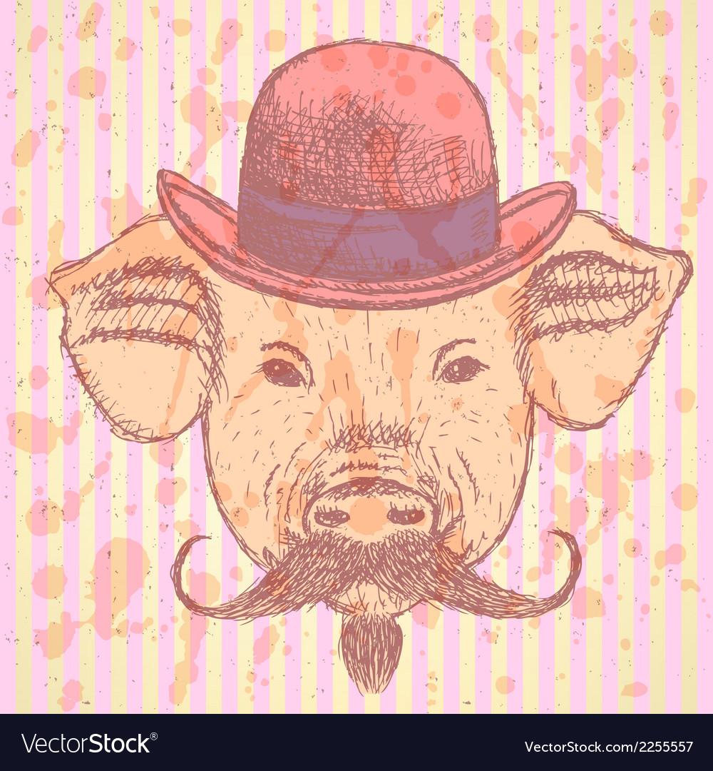 Hat Pig Mustache vector image