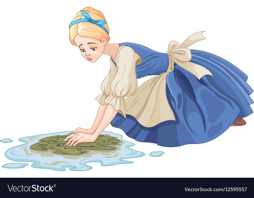 Sad cinderella cleaning the floor royalty free vector image sad cinderella cleaning the floor vector image voltagebd Gallery