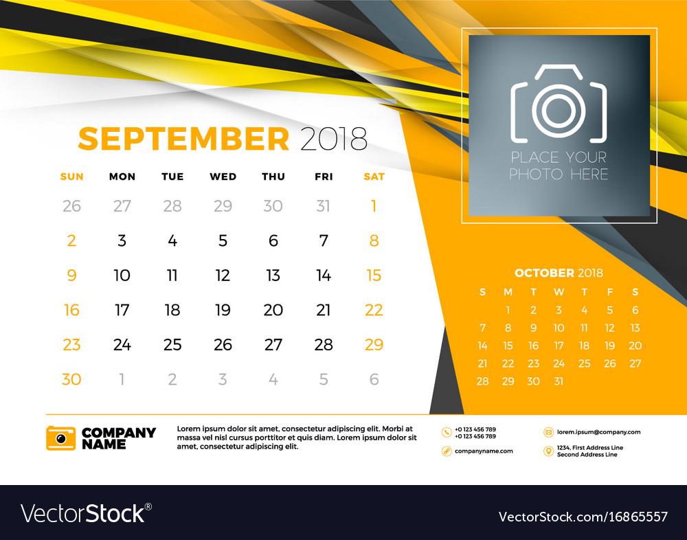 september 2018 desk calendar design template with vector image. Black Bedroom Furniture Sets. Home Design Ideas