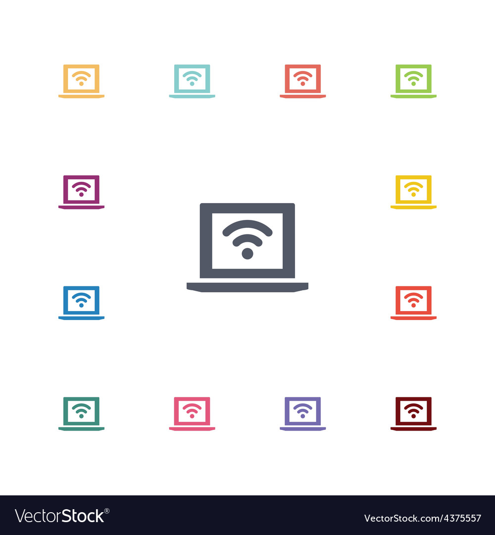 Wifi laptop flat icons set vector image