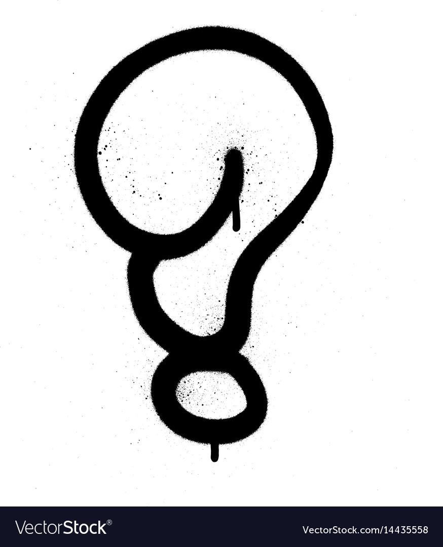 Graffiti bubble question mark in black on white vector image