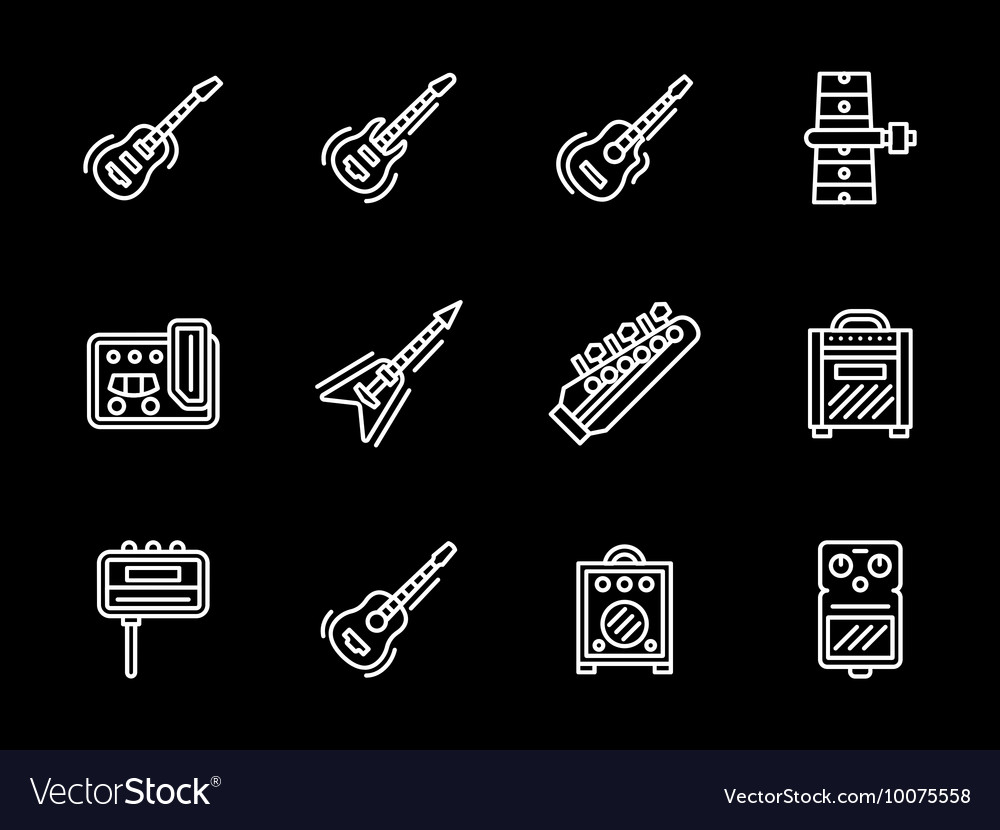 Music equipment white line icons Guitars vector image