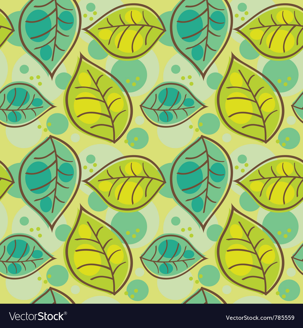 Seamless pattern with summer leafs vector image