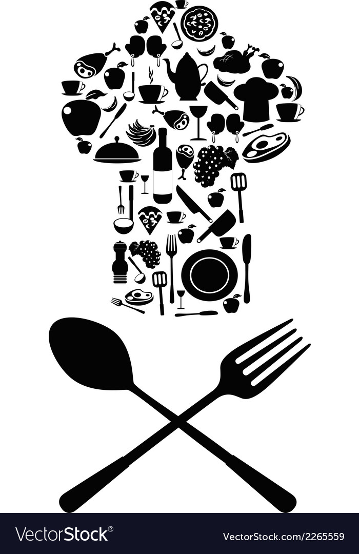 Chef symbol with spoon and knife vector image