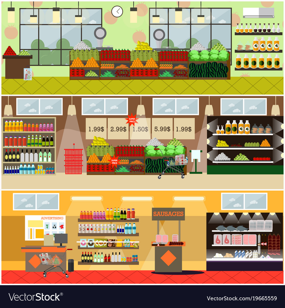 Grocery store or supermarket interior flat vector image