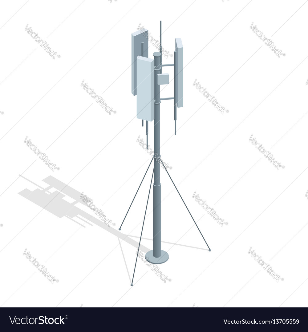 Isometric telecommunications towers a mobile vector image