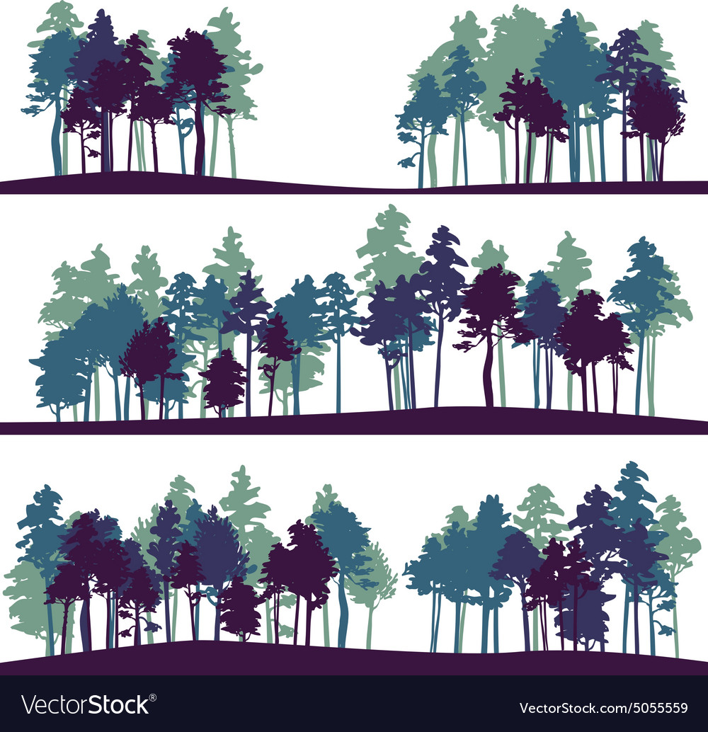 Set of different landscape with pine trees vector image